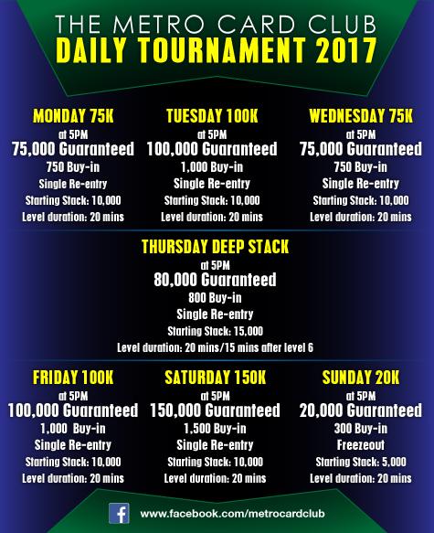 Metro Card Club Daily Tournament Schedule