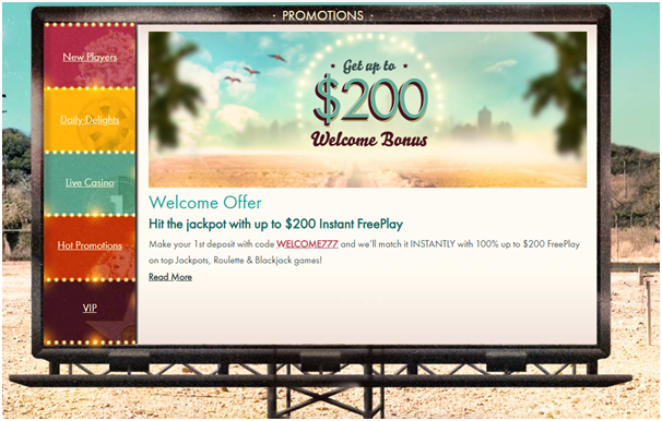777 Casino bonus offers