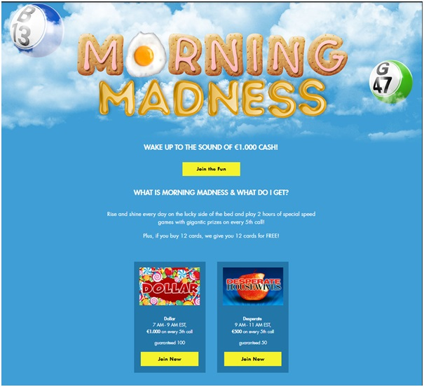 Bingo games at Rich Casino- Morning Madness