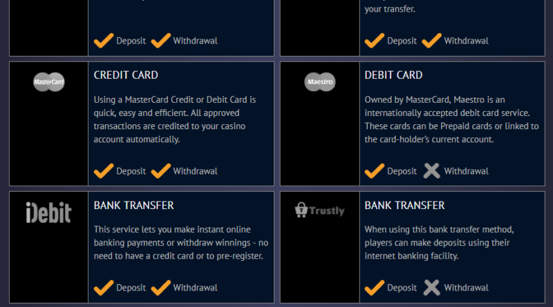 Deposit Options