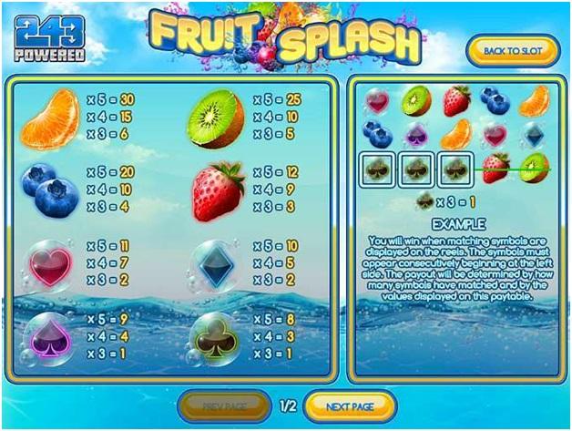 Fruit splash slot- Paytable
