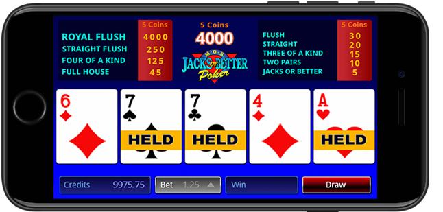 Video poker games on mobile